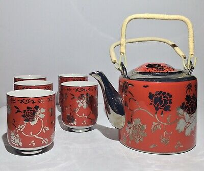 Vintage Antique Chinese Silver Inlayed Teapot with  Cups Set of Six