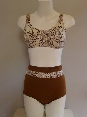 Vintage Retro 50s 2 pc bikini 10 S brown ivory Swimsuit good Catalina