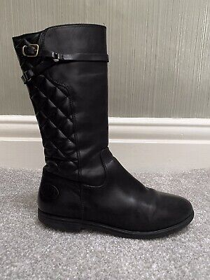 Russell & Bromley RRP £100 Girls black flat quilted long leather boots UK 3 EU36