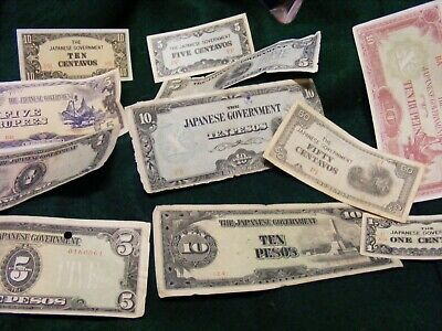Lot of 11  diff.  Japanese Occupation Banknotes,Philippines,Burma,(B).Used.