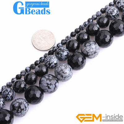 "Natural Black Snowflake Jasper Facted Round Beads Free Shipping 15""4mm 10mm 14mm"