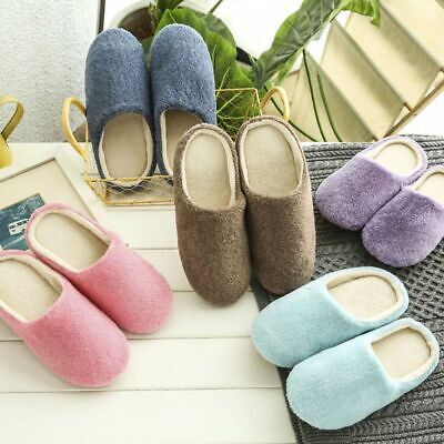 Soft Touch Warm Indoor Slippers Mute House Home Anti-slip Shoes Size6.5-10.5