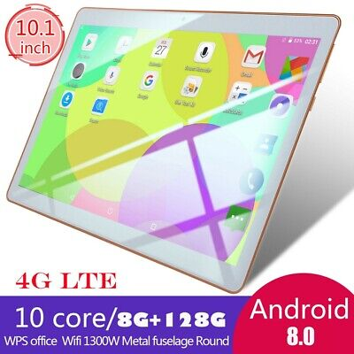 10.1 inch 4G-LTE Android 8.0 Tablet PC IPS HD Dual Card Camera Phone Call 8+128G