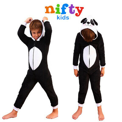 Nifty Kids Panda All In One Childs Soft Fleece 3D Hooded Novelty Animal Pyjamas