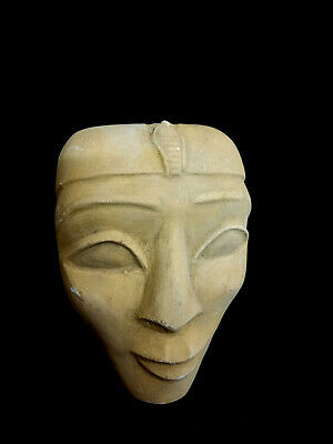 Pretty Mask Stone Statue Ancient Egyptian Antique Hieroglyphic Bust Bead Mummy