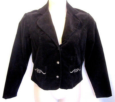 Womans San Marino Blazer Jacket Size L Black Coast on Buttons Beading Embroidery