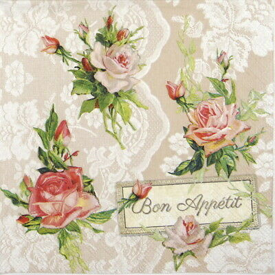 4x Paper Napkins for Party, Decoupage -  Roses on lace