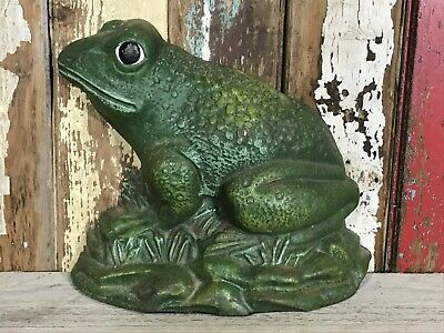 Heavy Cast Iron Unusual Modern Green Frog Toad Door Stop Stay Open Weight