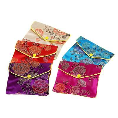 12x Mini Jewelry Storage Bags Silk Chinese Tradition Pouch Purse Coin Organizer