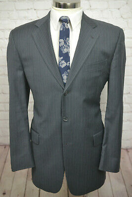 $695 Joseph Abboud Mens Gray Wool Pinstripe Pleated 2 Piece Suit 42L 36Wx31L