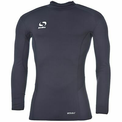 Sondico Mock Neck Baselayer Shirt Mens Navy Football Soccer Compression Top