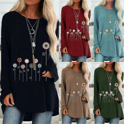 Women's Casual Retro Tops Party Loose Long Sleeve T-shirts Tunic Autumn Blouse