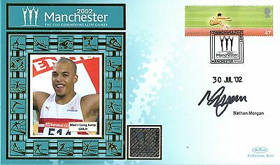2002 Commonwealth Games Benham Cover Signed Long Jumper Nathan Morgan