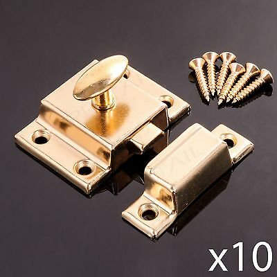 10 x BRASS CUPBOARD SPRUNG TURN LATCH Desk/Cabinet Door Twist Catch + Screws