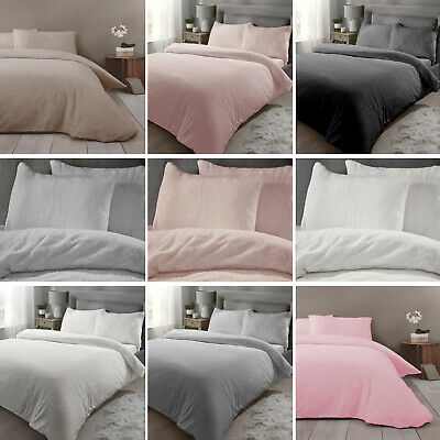 Teddy Bear Fleece Duvet Cover Set Quilt Covers Sherpa Thermal Warm Soft Bedding
