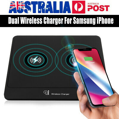 Qi Wireless Fast Portable Dual Charger Charging Pad Dock Double Charged AU