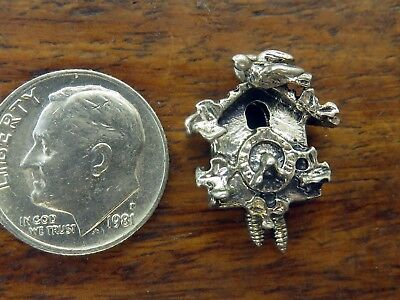 Vintage silver GERMAN ANTIQUE MOVABLE PENDULUM WOODEN CUCKOO CLOCK BIRD charm