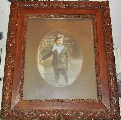 Antique Vintage Large Carved Mahogany? & Walnut? Frame 21 X 24 With Photograph