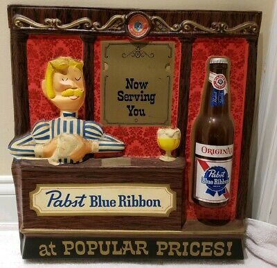 """Vintage 1950s Pabst Blue Ribbon """"Now Serving You"""" Beer Bar Advertising Wall Sign"""