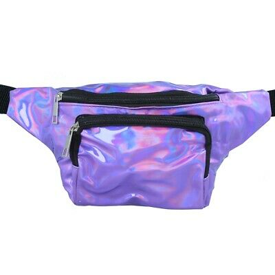 HOLOGRAPHIC PURPLE FESTIVAL BUMBAG Holiday Rave Club Travel Hip Belt Money Pouch