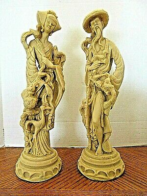 "VINTAGE CHINESE ASIAN/ORIENTAL MAN & WOMAN RESIN FIGURES 19""ins Tall"