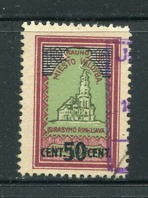 x83 - LITHUANIA Kaunas 1920s Municipal REVENUE Stamp. SURCHARGED. Scarce! Fiscal
