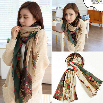 Womens Long Cotton Voile Printed Shawl Scarf Wrap Stole Sunscreen for Girls/Lady