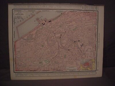 Antique 1898 Color Map of Indiana or Cleveland from Rand McNally Atlas