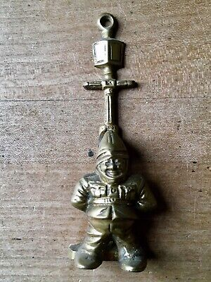 Vintage Brass Door Knocker Garden Gnome Small Antique