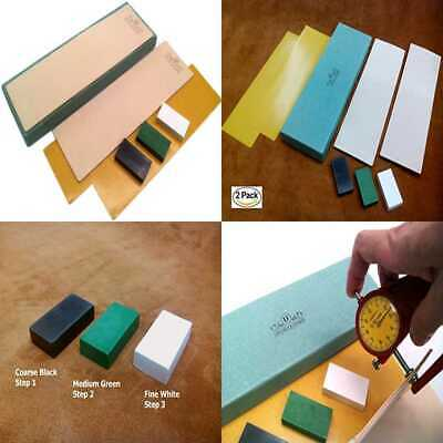 """Kit Of 2 Leather Honing Strop 3"""" By 10"""" W 3 One OZ BLACK GREEN & Natural Cowhide"""
