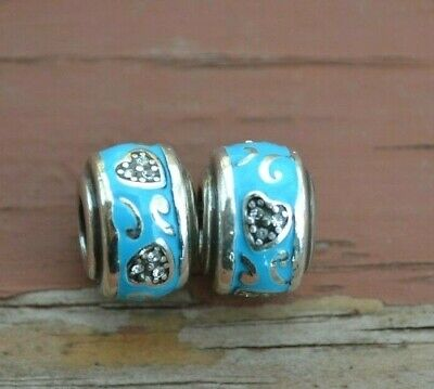 New Brighton ABC Turquoise BUTTERFLY Stopper Charm Bead Crystals   RETIRED