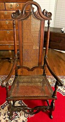 Antique 18th Century William & Mary Caned Chair - Shipping Available
