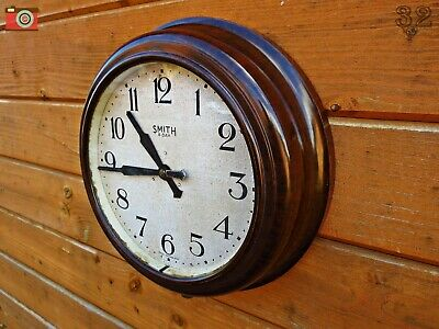 Vintage Bakelite Wall Clock. Smith 8 Day. Broad Arrow, War Dept, Ww2. Restored