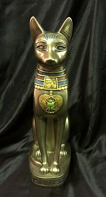 Bronze Coated Cold Cast Statue Of Egyptian Bastet 31Cm High
