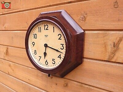 Vintage Smith Sectric Octagon Wall Clock. Bakelite. Restored Updated. No Wires