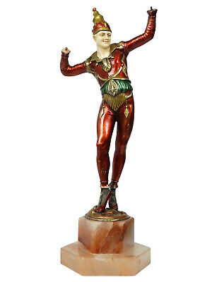 1930s Art Deco Spelter and Onyx Harlequin Jester Sculpture