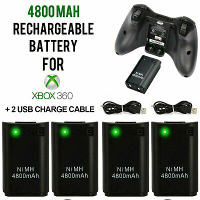 4x 4800mAh Rechargeable Battery USB Charger Cable Pack for Xbox360 Controller