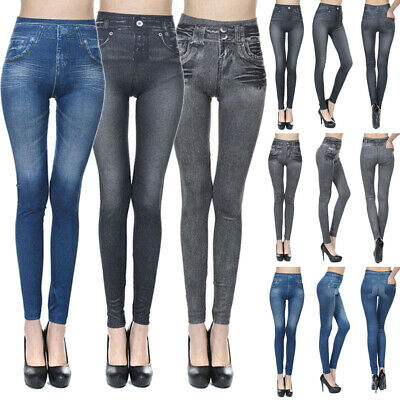 USA Women Fashion Stretch Plus Jeans Lady's Denim Faux Jean Pants Sexy Leggings
