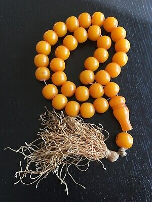 RARE ANTIQUE OLD FATURAN PLASTIC BAKELITE NECKLACE PRAYER BEADS 193g TESBIH