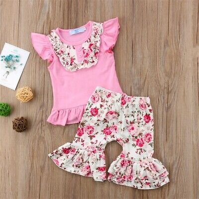 2PCS Set Toddler Baby Kid Girl Clothes Tops T-shirt Floral Ruffle Pants Outfit