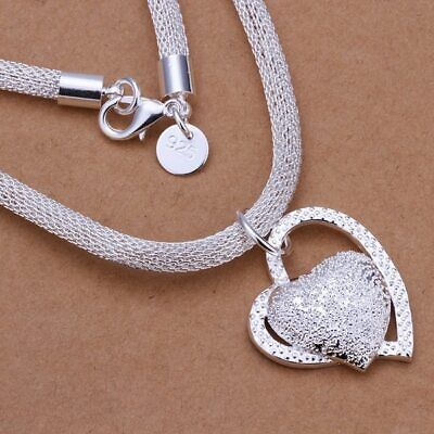 Sterling Silver 925  Necklace BOX Chain Solid 925 Heart  New Wholesale Prices