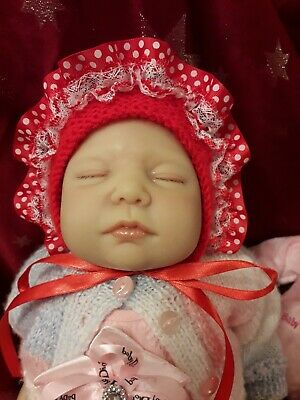 ROMANY Hand knitted lacy baby GIRL bonnet hat 0-3 red white spots reborn 22 inch