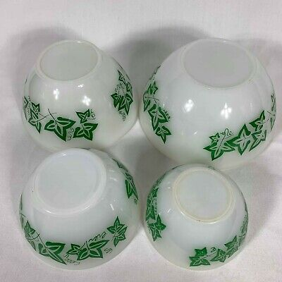 Vintage Agee Pyrex Green Ivy Leaf Nesting Mixing Bowl Set of 4