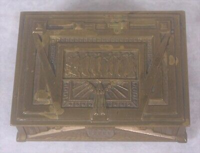 Antique Erhard & Sohne Art Deco Nouveau German Engraved Brass Box Jugendstil