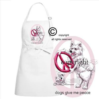 Samoyed Dogs Give Me Peace Cute Cartoon Art Kitchen Chef Full Apron