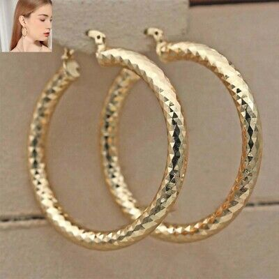 """Bling Concave L8 Earrings Hoop Gold Geometry Big Party 18K Filled 2.1"""""""