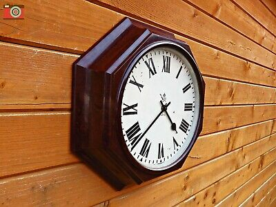 Gpo George Vi Large Wall Clock, Octagonal. Bakelite. Restored, Updated. No Wires