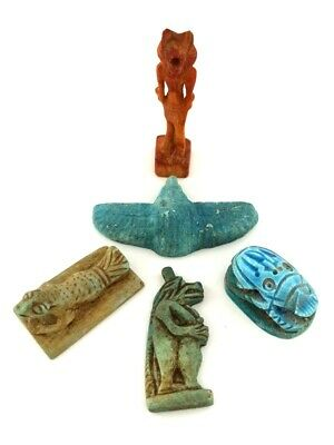 Faiences Figurines Baboon Anubis Winged Sacarab  Egyptian Antiques Nice Amulets