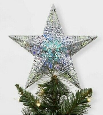 Wondershop Tree Topper Christmas LED Lit Silver Wire Wrapped Glitter Star