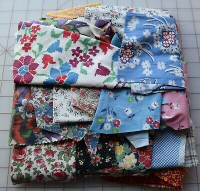 7662  1/2 lb Bag of Vintage 1930-50's unused dress weight fabric scraps # 1